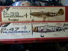 TOP FLITE P-39 AIRACOBRA & P-47 THUNDERBOLT RED BOX RC BALSA MODEL AIRPLANE KIT