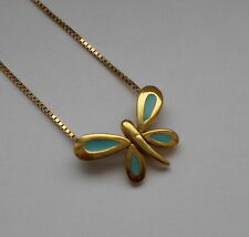 Danish 90's Bent Larsen Gilded Silver 925 Blue Enamel Butterfly Pendant Necklace
