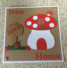 """Large Handmade New Home Moving House card cute toadstool unusual 7"""" square"""