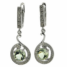 .925 Silver 2.62 Ct Natural Green Amethyst & CZ Earrings