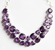 925 Sterling Silver and Purple Crystal Statement Necklace
