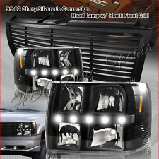 For 1999-2002 Chevrolet Silverado LED DRL Conversion Black Headlights+BLK Grille