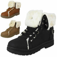 NEW LADIES WOMENS ANKLE WINTER TRAINERS HI TOP FUR LACE UP FLAT SHOES BOOTS SIZE