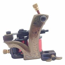 D6 Damascus Tattoo Machine Steel Handmade Shader Gun 10 Wrap Coil + Metal Case