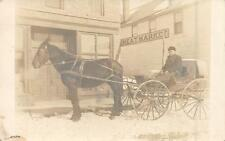 "RPPC Old Man in Horse-Drawn Cart ""Meat Market"" Sign Vintage Postcard ca 1910s"