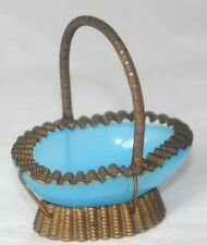 BLUE OPAQUE GLASS BASKET c1800~~ANTIQUE FRILLY EDGE HAND STAMPED thimble holder