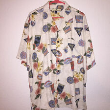 EUC MENS TOMMY BAHAMA ISLANDS PRINT HAWAIIAN COCKTAIL CAMP SILK LOUNGE SHIRT XL