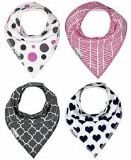 Adorable Baby Bandana Drool Bibs - Set of 4 - For Girls - Cute Baby Shower Gift!