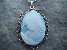 STUNNING VIRGIN MARY/BABY JESUS CAMEO NECKLACE- CROSS, MOTHER / BABY--GREAT GIFT