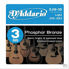 D'addario 3 Sets EJ16 Light Acoustic Guitar Strings EJ 16 3D Pack 12-53