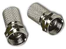 2 X High Quality  F Connector Plugs RG6  Sky Satellite Pack Twist on, Larger Nut