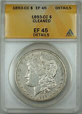1893-CC Morgan Silver Dollar $1 ANACS EF-45 Details Cleaned, JT
