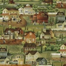 BYthe YD~WINDHAM FABRIC~COUNTRY STORE~SCENE~HOUSES~OLD TIME~COUNTRYSIDE~41273-X