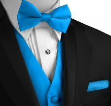 XS - 6XL. Italian Design Solid Satin Formal Tuxedo Vest, Bow-Tie and Hankie Set.
