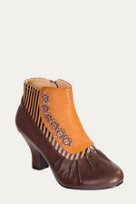 Gothic Victorian Steampunk Vintage Retro Brown Striped  Ankle Boots Shoes