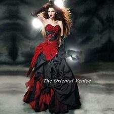 2016 Gothic Taffeta Red And Black Ball Gown Wedding Dresses Long Bridal Gowns