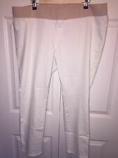 NWOT LIZ LANGE MATERNITY JEANS STRETCH SZ XXL NO PANEL PLUS SIZE WHITE ANKLE