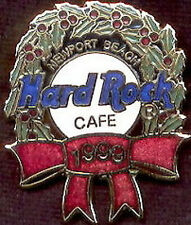 Hard Rock Cafe NEWPORT BEACH 1999 CHRISTMAS PIN Wreath Ribbon