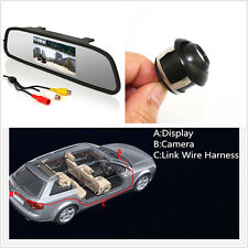 Waterproof 360°CCD HD Wide-angle Backup Parking Camera + Rearview mirror monitor