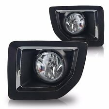 Black / Chrome Bezel Clear Lens Fog Light Lamp Kit For 15-16 GMC Sierra 2500