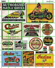4001 DAVE'S DECAL HO WATERSLIDE ASSORTED VINTAGE AMERICAN MOTORCYCLE SIGNS & ADS