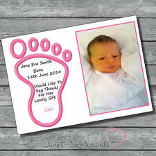 Pk 10 Personalised Girl Christening/baby gift Glossy Thank You Cards & envelopes