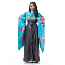 Japanese Woman Samurai Kimono Blouse + Hakama Pants Robe Geisha Cosplay Costume