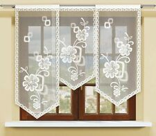 3 Parts Jacquard floral net curtain window panel ready to hang up WHITE