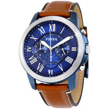 Fossil Grant Blue Dial Chronograph Leather Mens Watch FS5151
