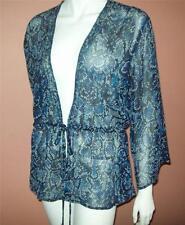 ios S Black Blue REPTILE PRINT Sheer BEADED Sequin Chiffon TIE-FRONT TOP Blouse