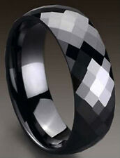 TUNGSTEN CARBIDE Black Plated Diamond Faceted BAND RING, size 8 - in Gift Box