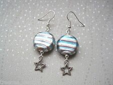 *MOON & STARS* Pale Pink Blue Lampwork Glass Celestial Planet Bead Drop Earrings