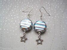 *MOON & STARS* Pale Pink Blue Lampwork Glass Celestial Planet Bead Drop Earrings