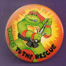 Teenage Mutant Hero Turtles -Raphael - Turles To The Rescue  Button badge 1990's