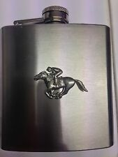 Race Horse & Jockey PP-E20 english pewter 6oz Stainless Steel Hip Flask