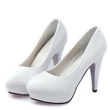 Women Classic Patent leather Round Toe Stiletto High Heel Platform Pump Shoes
