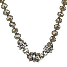 KIRKS FOLLY TIMELESS CRYSTAL  BEAD MAGNETIC NECKLACE SILVERTONE/SILVER GRAY