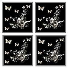 GREY / BLACK BUTTERFLY & FLOWERS - SET OF 4 COASTERS - GIFT / PRESENT - NEW