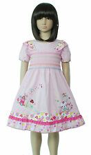 New Girls Pink Smocked Cotton Party Dress 4-5 Years