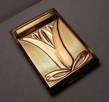 1930s Art Deco Richard Hudnut Gold Tone Lotus Powder Compact w/ Lipstick
