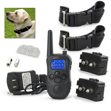 Rechargeable Pet Dog Training Collars Waterproof LCD 9 Level Shock Vibrate Pair