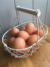 Cream Metal Wire Flower / Egg Basket with Wooden Handle Wedding Home Small