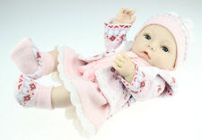 "16"" Handmade Reborn Newborn Baby Doll Full Soft Silicone Vinyl Bath Girl Toy"