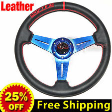 """350mm 14"""" LEATHER Drift Racing Rally Steering Wheel RED Stitch Universal BLUE"""