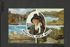 J Salmon Multi View Colour Postcard North Wales Beddgelert Bridge-Snowdon-
