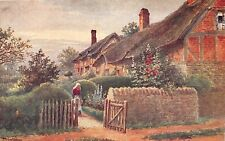 STRATFORD UK ANNE HATHAWAY COTTAGE~WOMAN IN GARDEN~ARTIST QUATRAMAIN POSTCARD