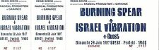 RARE / TICKET CONCERT LIVE - BURNING SPEAR + ISRAEL VIBRATION A BREST 1997