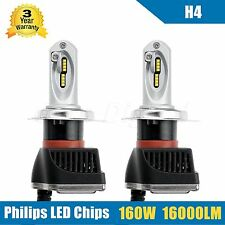 White High Low Beam H4 LED Headlight Kit PHILIPS Chip Bulb Lamp 160W 16000LM 2Pc