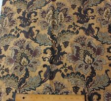 Beautiful French Antique Jacobean Indienne Tapestry Jacquard Woven Fabric c1890