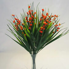 Set of 3 Artificial Sword Grass Bushes With Orange Gypsophila - 30 cm Flower